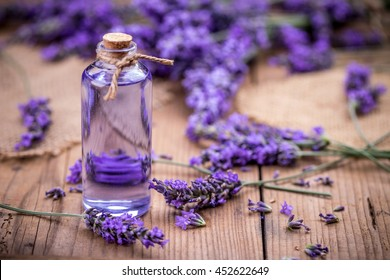 Fresh lavender flowers with massage oil