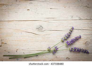 Fresh lavender flowers on wooden background. Space for text, lovely rustic postcard