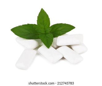 Fresh leaves mint with chewing gum isolated on white background
