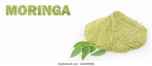 Fresh leaves and moringa powder - Moringa oleifera. Text space