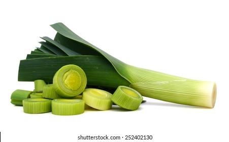 fresh leek isolated on white