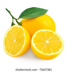 Fresh lemon citrus and half isolated on white background