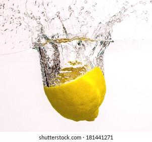 A fresh lemon in cool water