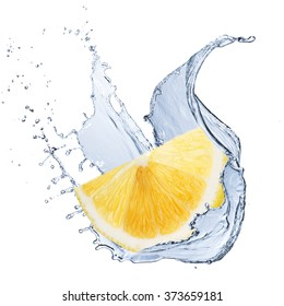 Fresh Lemon Fruit With Water Splash