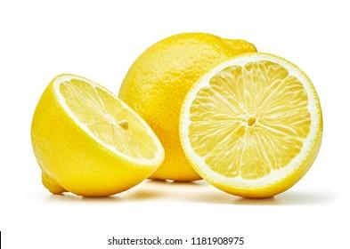 fresh lemon fruits isolated on white background