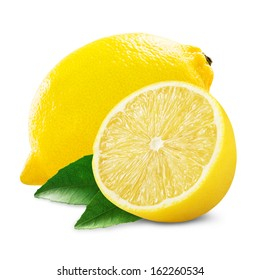 Fresh lemon with half and leaves isolated on white