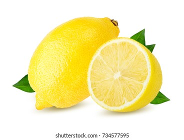 Fresh lemon isolated on white background with clipping path