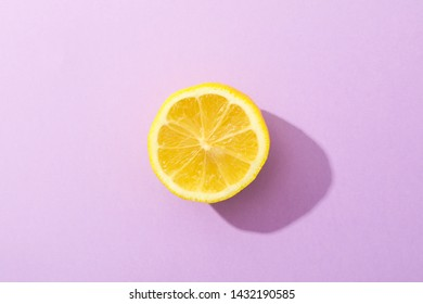 Fresh lemon on color background, space for text