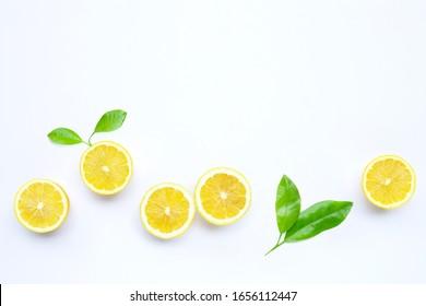 Fresh lemon on white background.