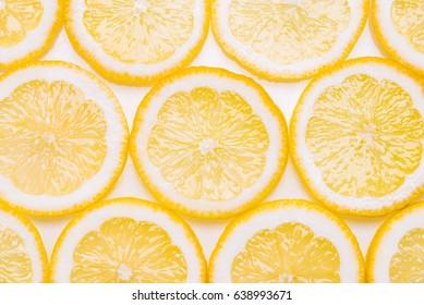 Fresh lemon on white background.Slices of lemon.