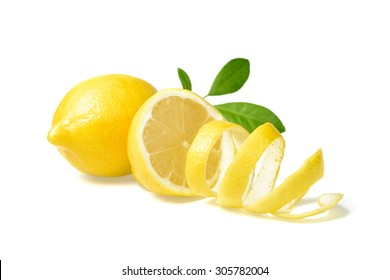 fresh lemon and lemon peel on white