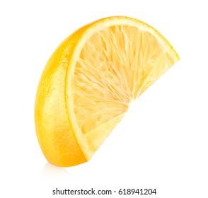 Fresh lemon slice isolated on white background