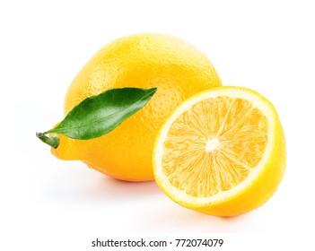 fresh lemon with slice and leaf isolated white background
