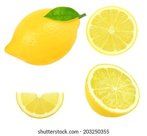fresh lemon slice on a white background
