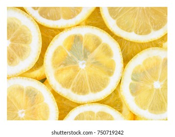 Fresh lemon slices background. Healthy food concept.