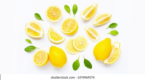 Fresh lemon and  slices  with leaves isolated on white background.