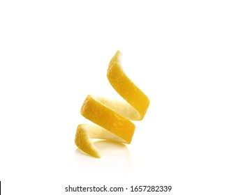 Fresh lemon twist isolated on white background