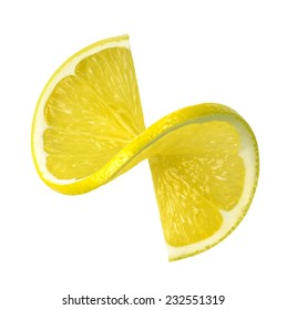 Fresh lemon twist slice isolated on white background as package design element