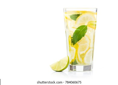 fresh lemon water in glass isolated on white background. Refreshment and cooling beverage