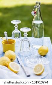 fresh lemonade in the garden