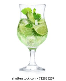 fresh lemonade glass. Lime with mint cocktail isolated on white