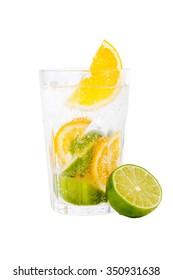 Fresh lemonade with lemon and lime. Isolated on white background