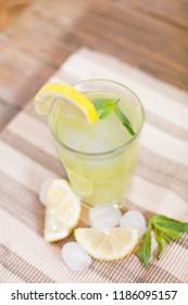 fresh lemonade with lemon slices
