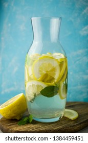 Fresh lemonade with mint on table