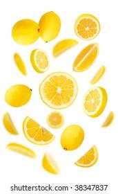 Fresh lemons on white background
