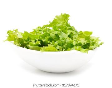 fresh lettuce salad on white