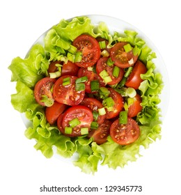 fresh light salad with cherry tomatoes and chives, isolated on white