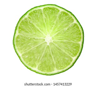 Fresh lime cut separately on a white background