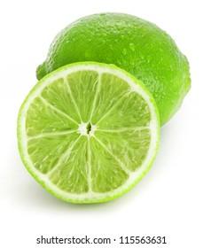 Fresh lime, Isolated on white background