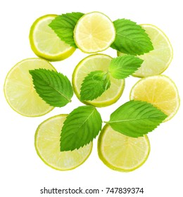 Fresh lime with leaf mint top view on a white background.