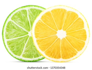 Fresh lime and lemon cut in half isolated on white background. Clipping Path. Full depth of field.