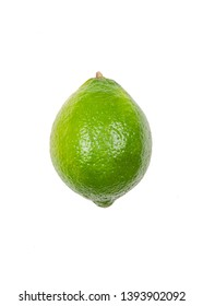Fresh lime levitate in air on white background. Concept of fruit levitation.