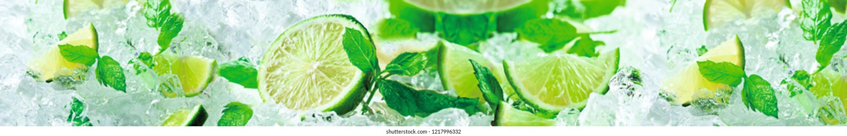 Fresh lime lies on a hill of ice.
