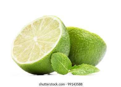 Fresh lime with mint isolated on white