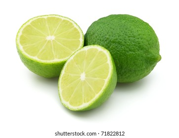 Fresh lime on a white background