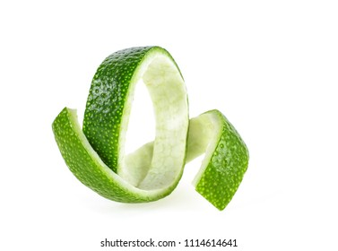 Fresh lime peel isolated on white background. Healthy food.