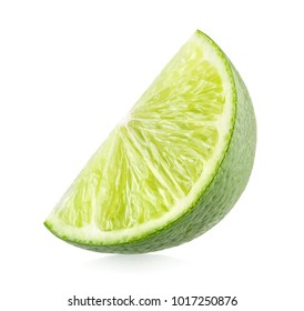 Fresh lime slice isolated on white background