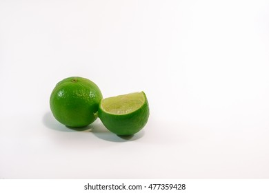 Fresh lime and slice, Isolated on white background.