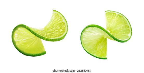 Fresh lIme slice twist isolated on white background as package design element