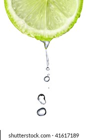 Fresh lime slice with water drops isolated on white