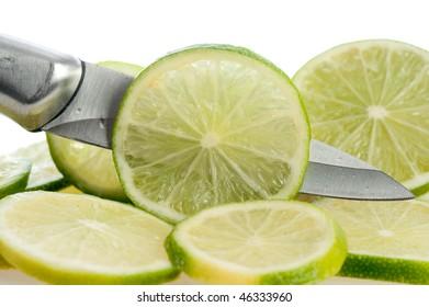 fresh lime slices on white background