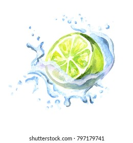 Fresh lime in splash isolated on white background. Watercolor hand drawn illustration