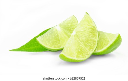 Fresh lime wedges isolated on white background cutout.