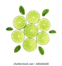 Fresh limes green slice with leaves isolated on white background, with clipping path