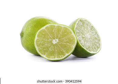 fresh limes isolated on white background