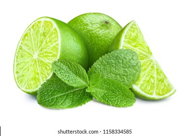 Fresh limes and mint leaves, isolated on white background